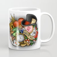 alice in wonderland Mugs featuring Wonderland  by Katie Simpson a.k.a. Redhead-K