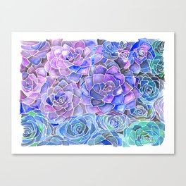Purple and Blue Succulent Pattern Painting Canvas Print
