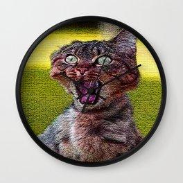 funny cat shocked Wall Clock