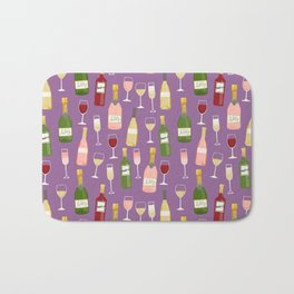 Rose drinks champagne wine bar art food fight apparel and gifts purple Bath Mat