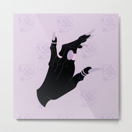 Black Hand Rose Pattern Metal Print