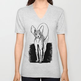 Black and White Sphynx Cat Line Drawing - Sphynx Lovers Gift - Naked Cat - Wrinkly Kitty Unisex V-Neck