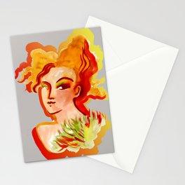 Deep orange yellow hues fashion portrait Stationery Cards