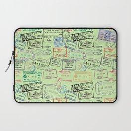 Worldly Traveler - Passport Pattern - Light Green Laptop Sleeve