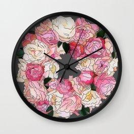 Peony Wreath Painting (dab grey)Feng Shui Wall Clock