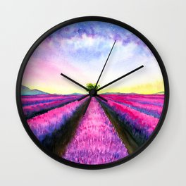Lavender Fields on Sunday Wall Clock