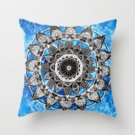 Blue Tiedye Mandala Throw Pillow