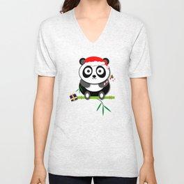 Holiday Panda Unisex V-Neck