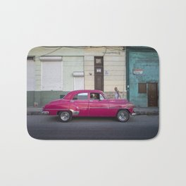 Vintage pink american car in the streets of La Havana, Cuba Bath Mat