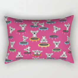 Koala Gymnasts On Trampolines Pattern On Pink Rectangular Pillow