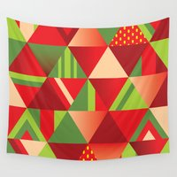 strawberry Wall Tapestries featuring strawberry by Gray