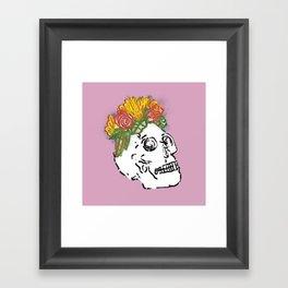 SKULL & FLOWERS - PINK Framed Art Print
