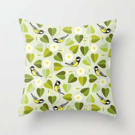 moonflower and birds Throw Pillow