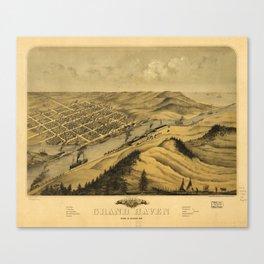 Bird's Eye View of Grand Haven, Michigan (1868) Canvas Print
