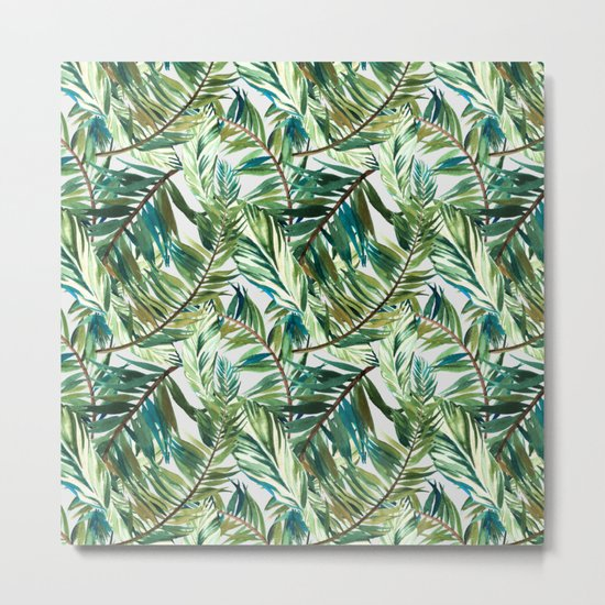 Leaf the jungle watercolor pattern Metal Print