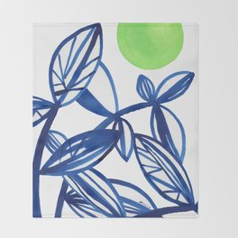 Navy blue and lime green abstract leaves Throw Blanket
