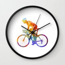 Woman triathlon cycling 01 Wall Clock