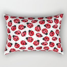 Watercolor Lady Bugs - Red Black Watercolor Insects Rectangular Pillow