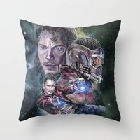 star lord Throw Pillows featuring Star Lord - Galaxy Guardian by Nina Palumbo Illustration