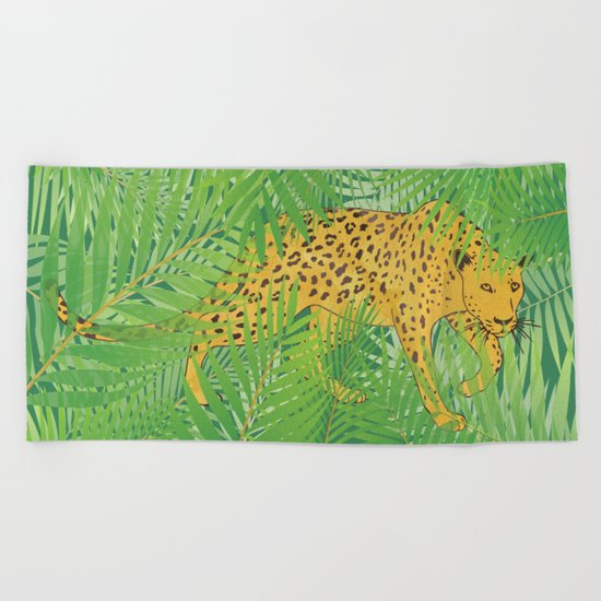Leopard with tropical leaves Beach Towel