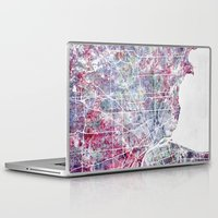 detroit Laptop & iPad Skins featuring Detroit map by MapMapMaps.Watercolors