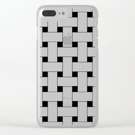 Basket Weave White and Black Clear iPhone Case