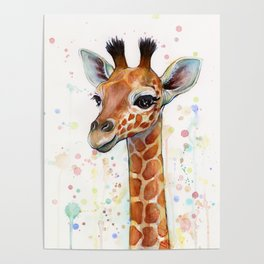 Giraffe Baby Watercolor Poster