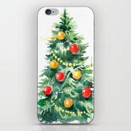 Christmas Tree Watercolors Illustration iPhone Skin