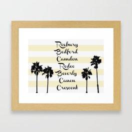 Beverly Hills Street Names Palm Trees Yellow Stripes Framed Art Print