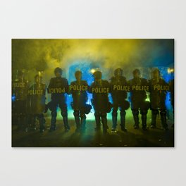 Riot Police Line - Yellow/Blue/Green  Canvas Print