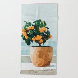Orange Tree Beach Towel