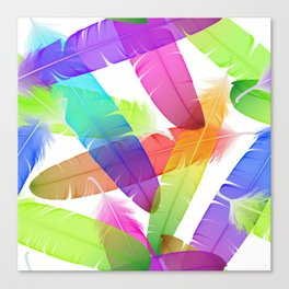 Colorful seamless feather vector pattern Canvas Print