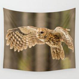 Tawny Owl in Flight Wall Tapestry