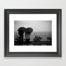 Couple at the rain, b&w Framed Art Print