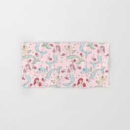 Mermaids and Roses on Pink Hand & Bath Towel