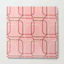 Retro Cubes Pink  #midcenturymodern Metal Print