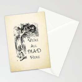 Alice in Wonderland Quote - We're All Mad Here - Cheshire Cat Quote - 0104 Stationery Cards