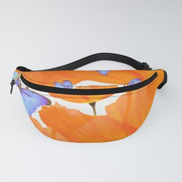 Poppies And Butterflies White Background #decor #society6 #buyart Fanny Pack