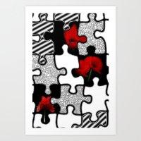 poppylove with puzzle design Art Print