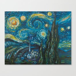 Modern interpretation of Vincent Van Gogh's scene of The Starry Night. Canvas Print