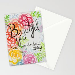 Beautiful Girl, You Can Do Hard Things Stationery Cards