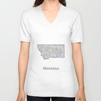 montana V-neck T-shirts featuring Montana map by David Zydd