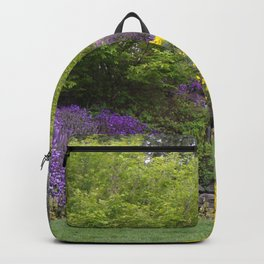 Beautiful Landscape With Purple and Gold Flower, Lush Landscape, Green Backpack