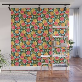 Grapefruits On Navy Wall Mural