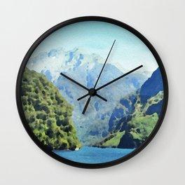 Fjord in watercolor Wall Clock