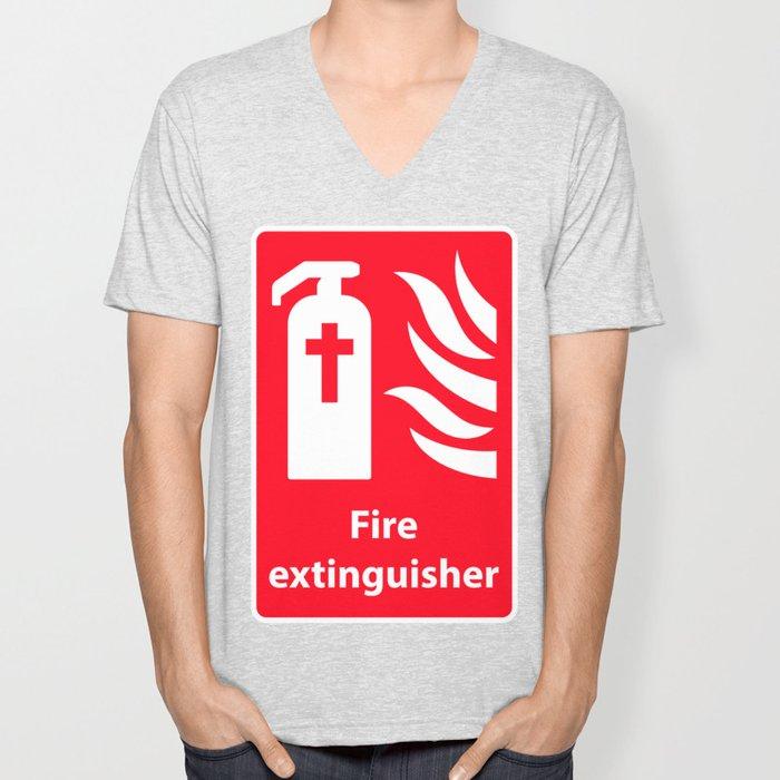 Fire Extinguisher For Hell - Christian Sign Illustration Unisex V-Neck
