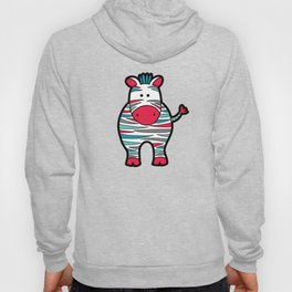 Doodle Zebra on Grey Triangle Background Hoody