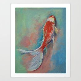 Pearl Banded Koi Art Print