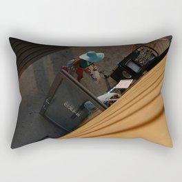 Coffee addict hat woman, street photography, colorful, street scene, urban, photography Rectangular Pillow