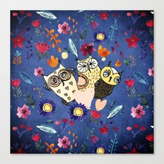 3 Wise Owls in Flower Garden at Night Canvas Print